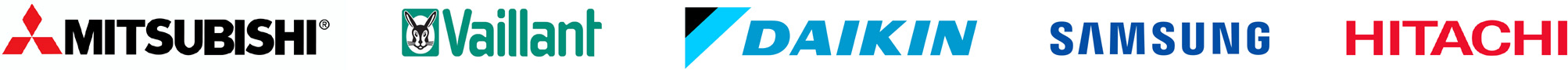 Mitsubishi, Vaillant, Daikin, Samsung and Hitachi Logos
